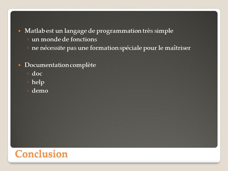 Conclusion Matlab est un langage de programmation très simple