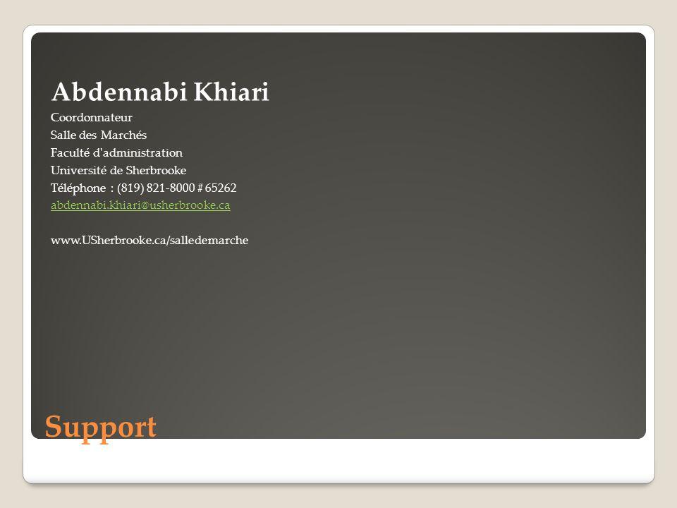 Support Abdennabi Khiari Coordonnateur Salle des Marchés