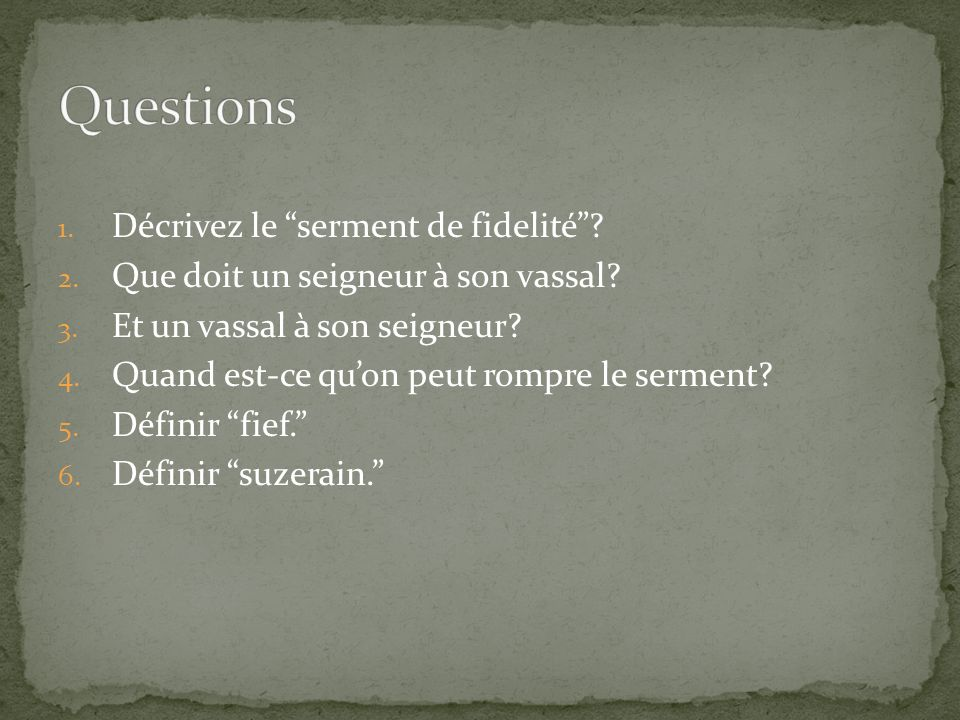 Questions Décrivez le serment de fidelité
