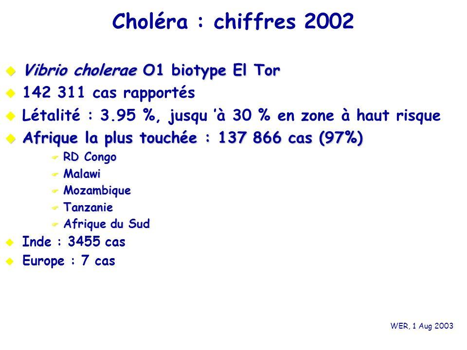 Choléra : chiffres 2002 Vibrio cholerae O1 biotype El Tor