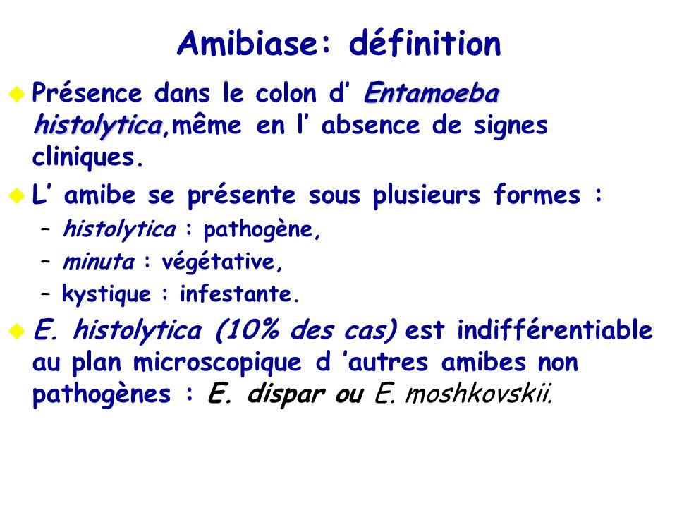 Amibiase: définition Présence dans le colon d' Entamoeba histolytica,même en l' absence de signes cliniques.