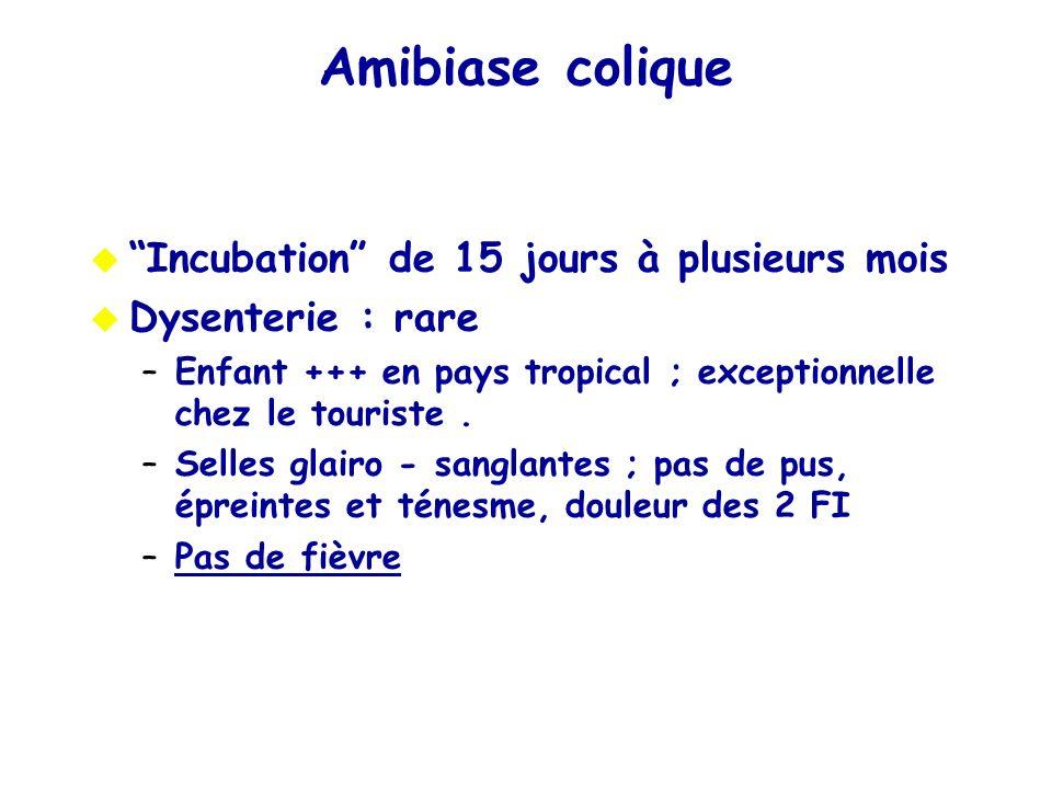 Amibiase colique Incubation de 15 jours à plusieurs mois