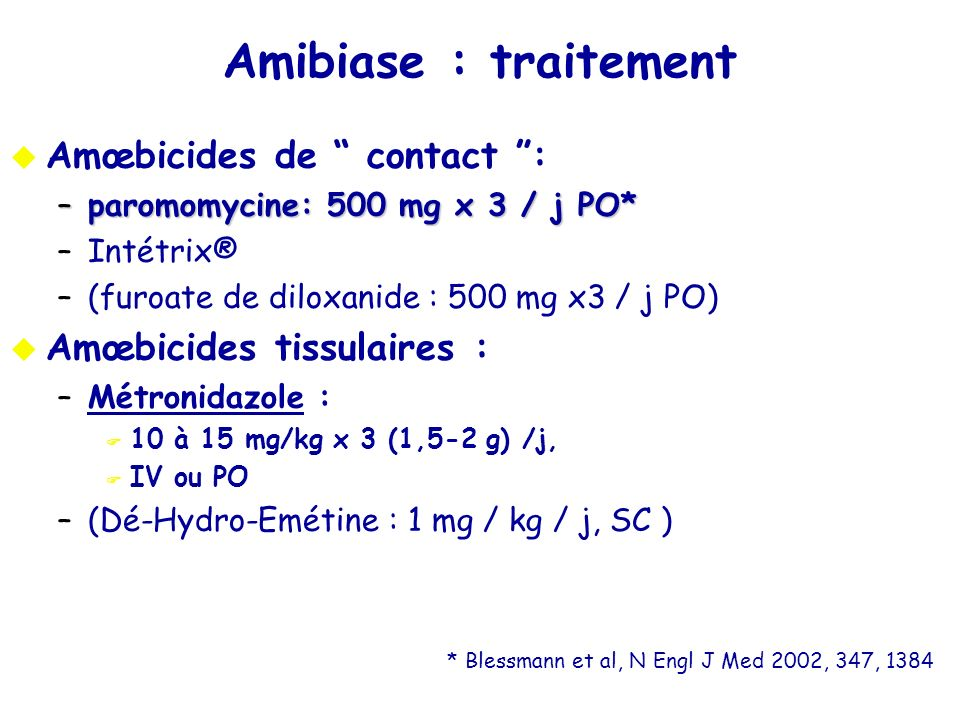 Amibiase : traitement Amœbicides de contact :