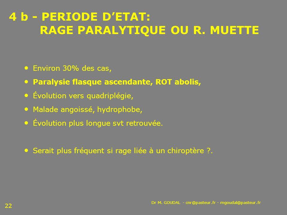 4 b - PERIODE D'ETAT: RAGE PARALYTIQUE OU R. MUETTE