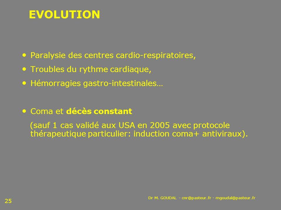 EVOLUTION Paralysie des centres cardio-respiratoires,