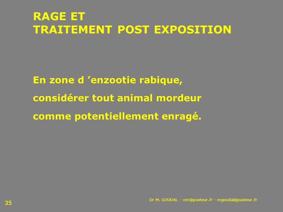 RAGE ET TRAITEMENT POST EXPOSITION