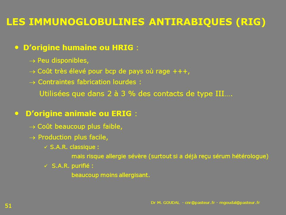 LES IMMUNOGLOBULINES ANTIRABIQUES (RIG)