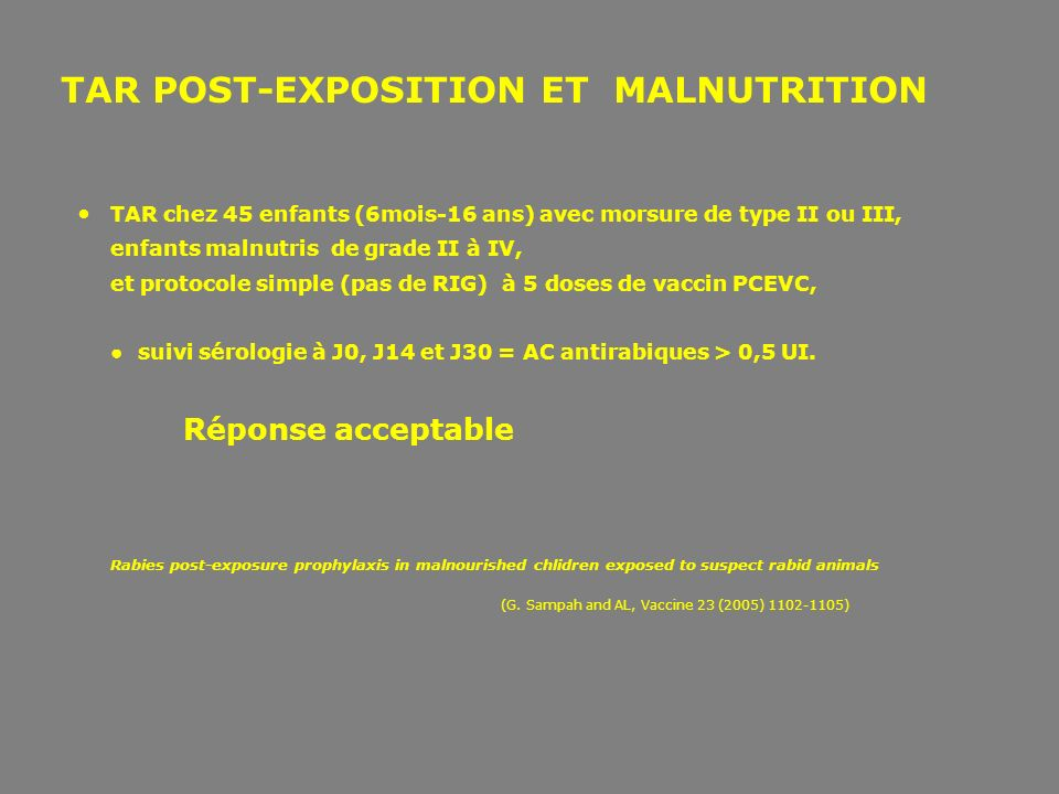 TAR POST-EXPOSITION ET MALNUTRITION
