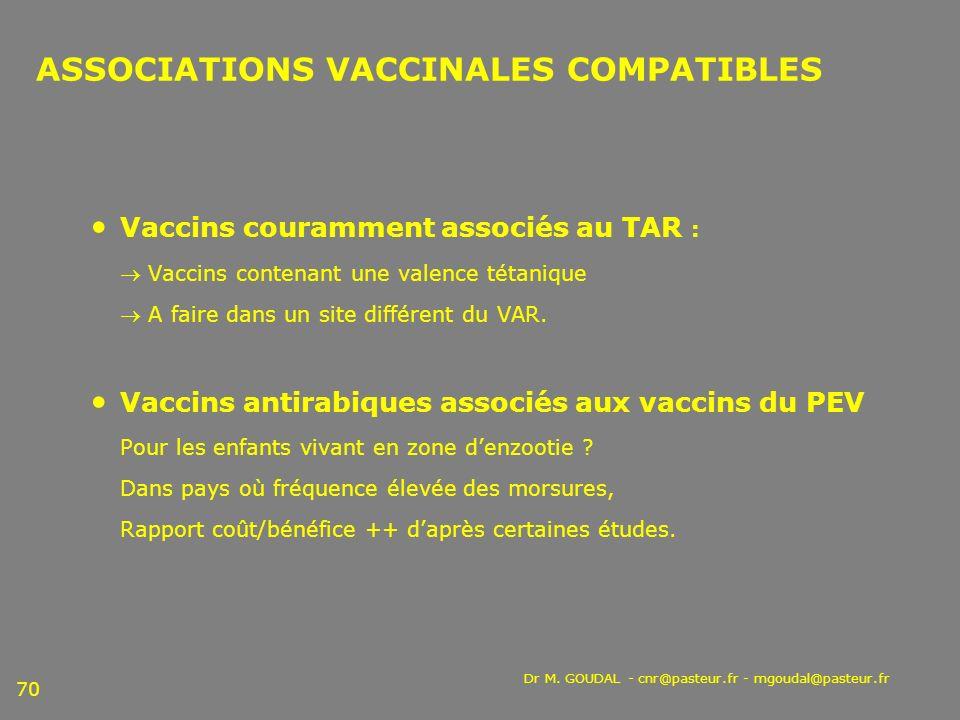 ASSOCIATIONS VACCINALES COMPATIBLES
