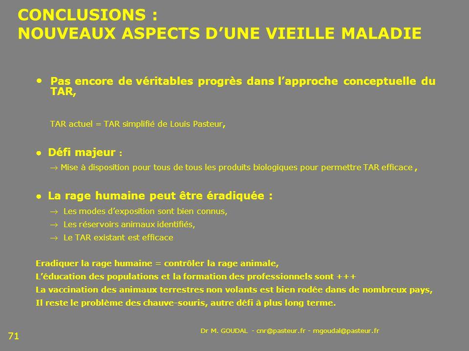 CONCLUSIONS : NOUVEAUX ASPECTS D'UNE VIEILLE MALADIE