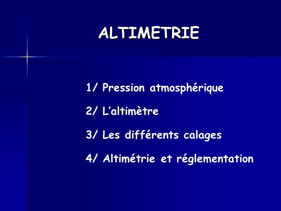 ALTIMETRIE 1/ Pression atmosphérique 2/ L'altimètre