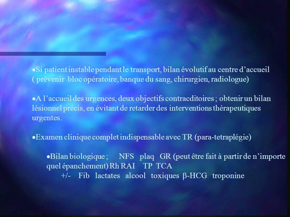 Si patient instable pendant le transport, bilan évolutif au centre d'accueil ( prévenir bloc opératoire, banque du sang, chirurgien, radiologue)