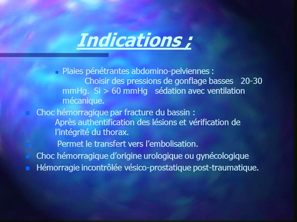 Indications ;