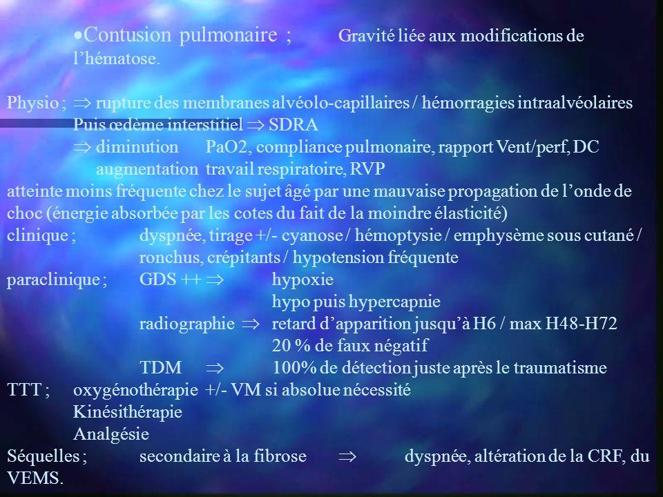 Contusion pulmonaire ; Gravité liée aux modifications de l'hématose.