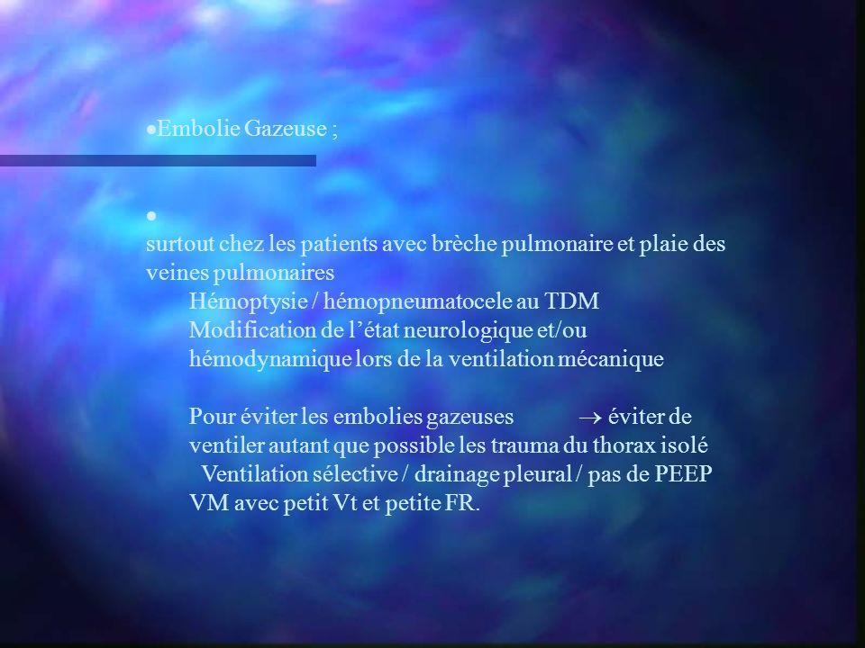 Embolie Gazeuse ; surtout chez les patients avec brèche pulmonaire et plaie des veines pulmonaires.