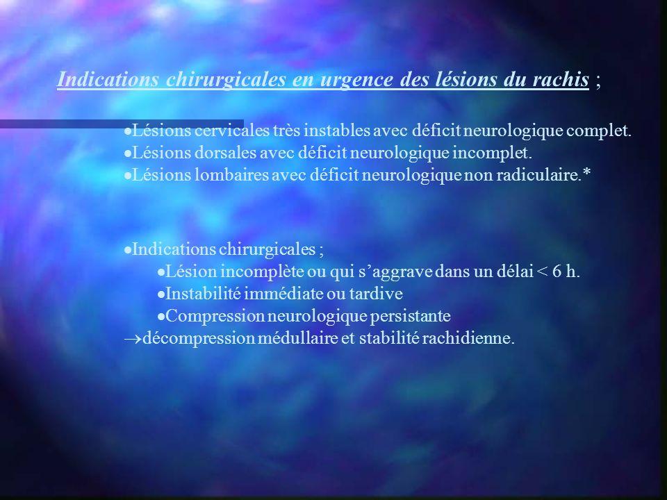 Indications chirurgicales en urgence des lésions du rachis ;