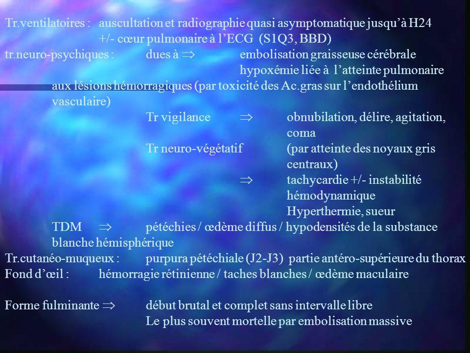Tr.ventilatoires : auscultation et radiographie quasi asymptomatique jusqu'à H24
