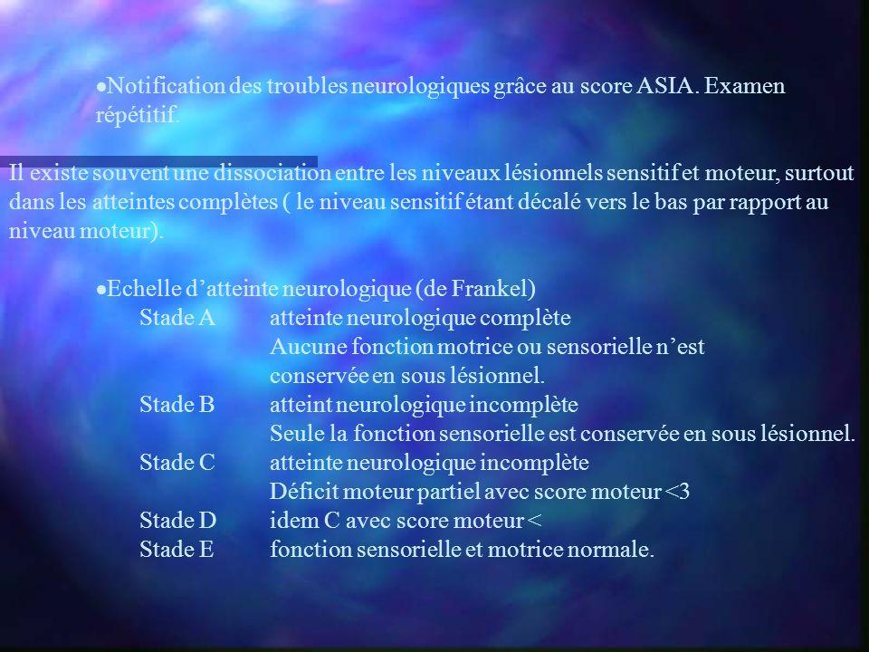 Notification des troubles neurologiques grâce au score ASIA