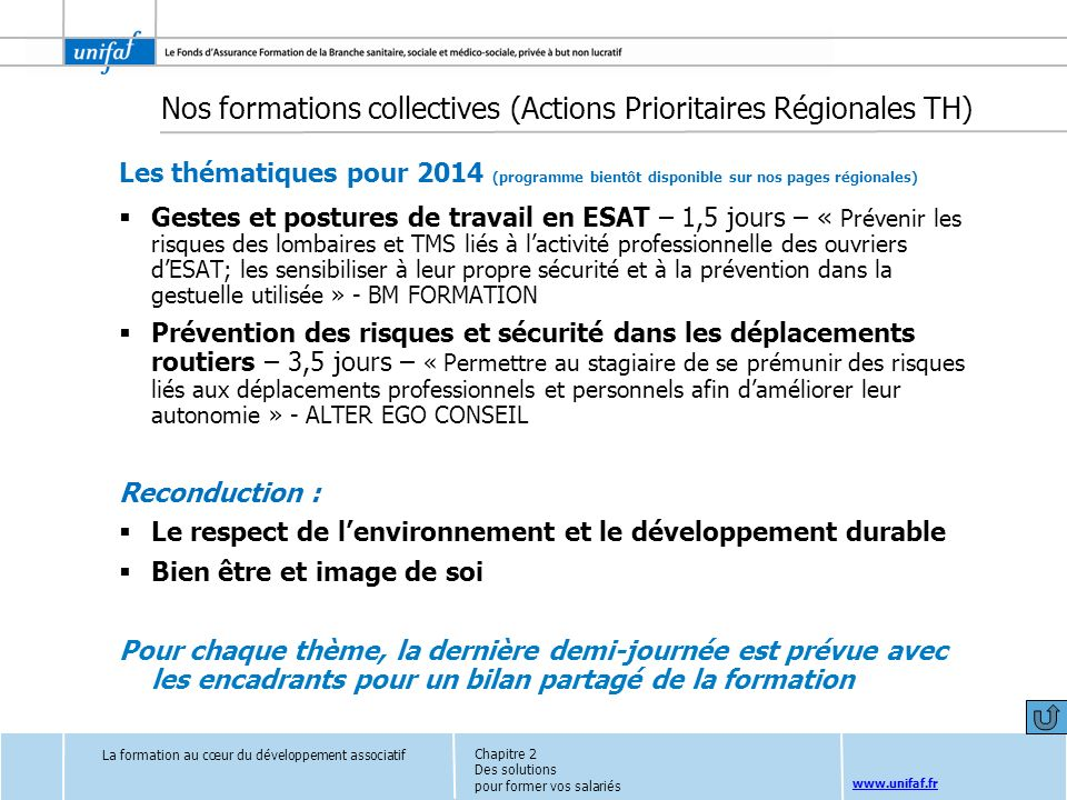 Nos formations collectives (Actions Prioritaires Régionales TH)