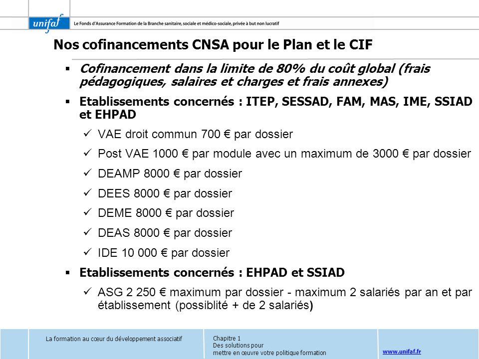 Nos cofinancements CNSA pour le Plan et le CIF