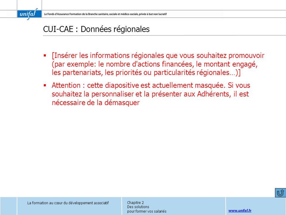 CUI-CAE : Données régionales
