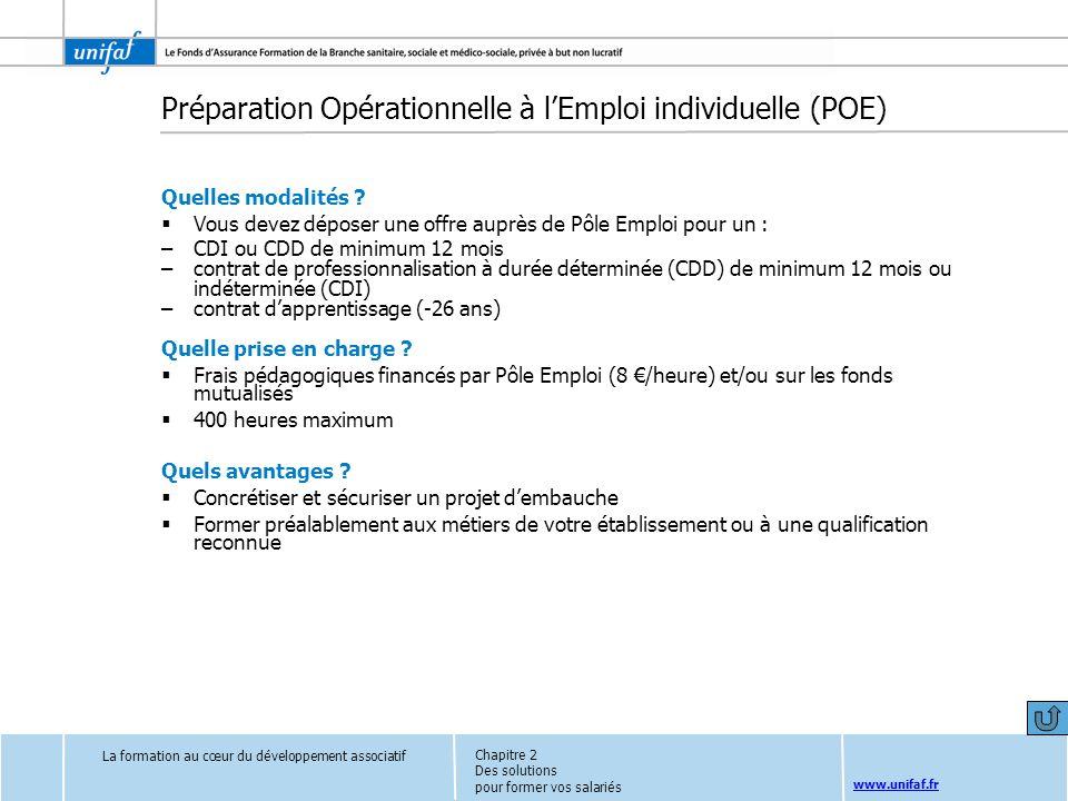 Préparation Opérationnelle à l'Emploi individuelle (POE)