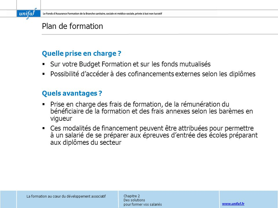 Plan de formation Quelle prise en charge