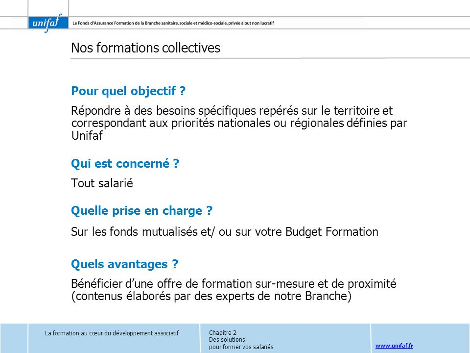 Nos formations collectives