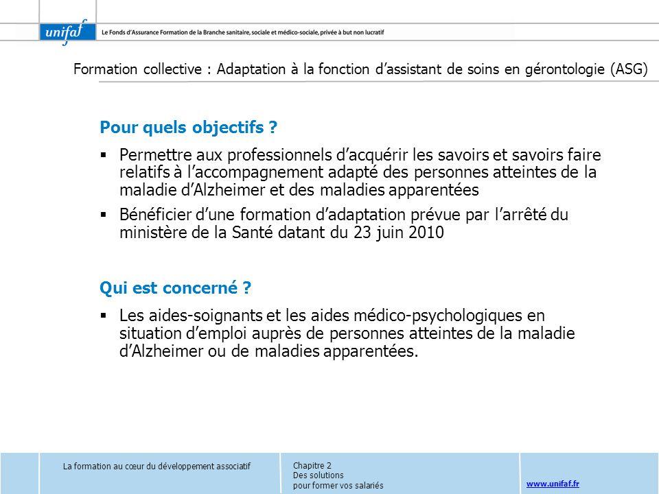 Formation collective : Adaptation à la fonction d'assistant de soins en gérontologie (ASG)