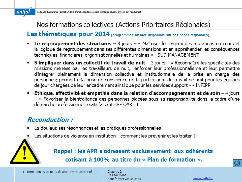 Nos formations collectives (Actions Prioritaires Régionales)