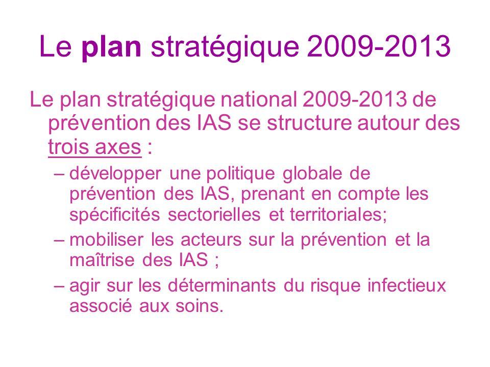Le plan stratégique 2009-2013 Le plan stratégique national 2009-2013 de prévention des IAS se structure autour des trois axes :