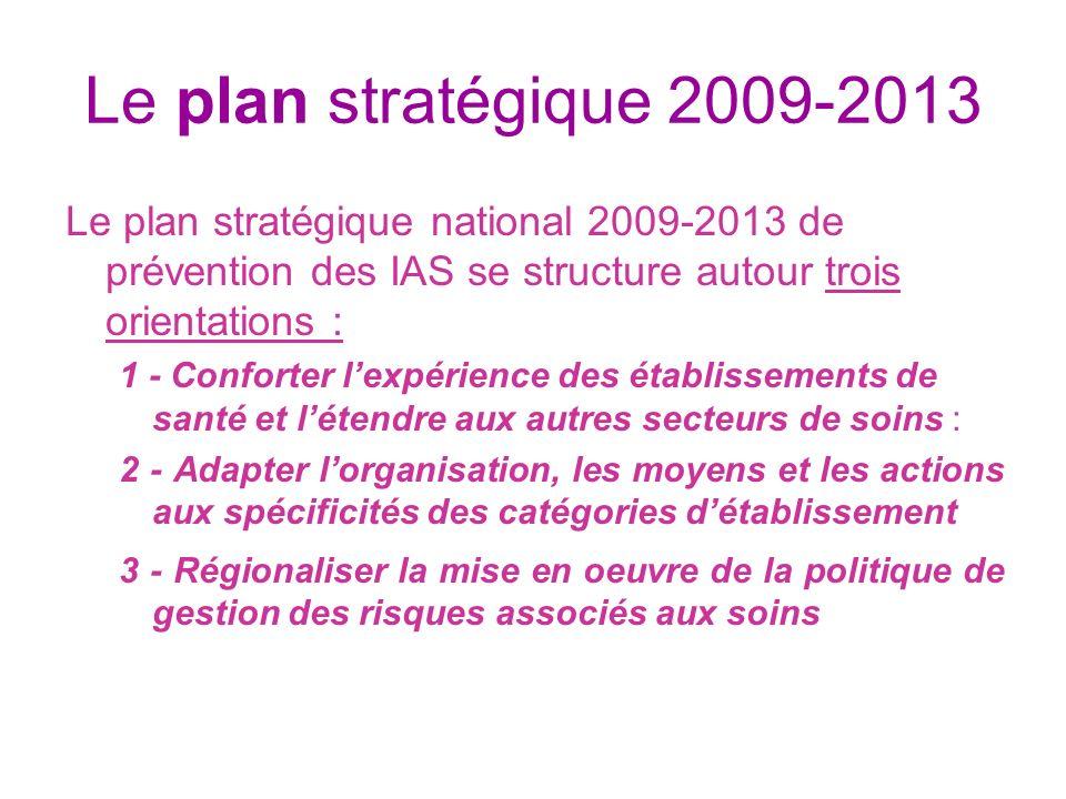 Le plan stratégique 2009-2013 Le plan stratégique national 2009-2013 de prévention des IAS se structure autour trois orientations :
