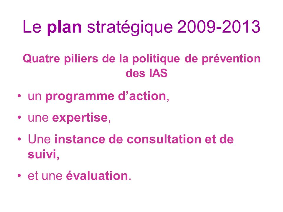 Quatre piliers de la politique de prévention des IAS