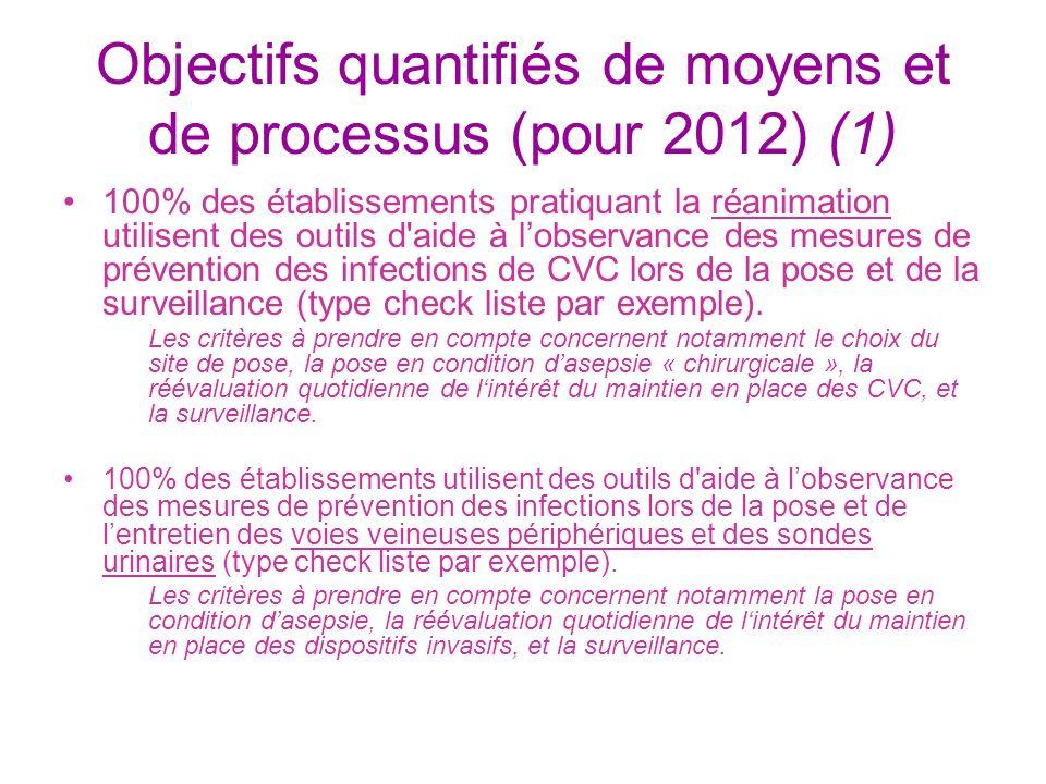 Objectifs quantifiés de moyens et de processus (pour 2012) (1)