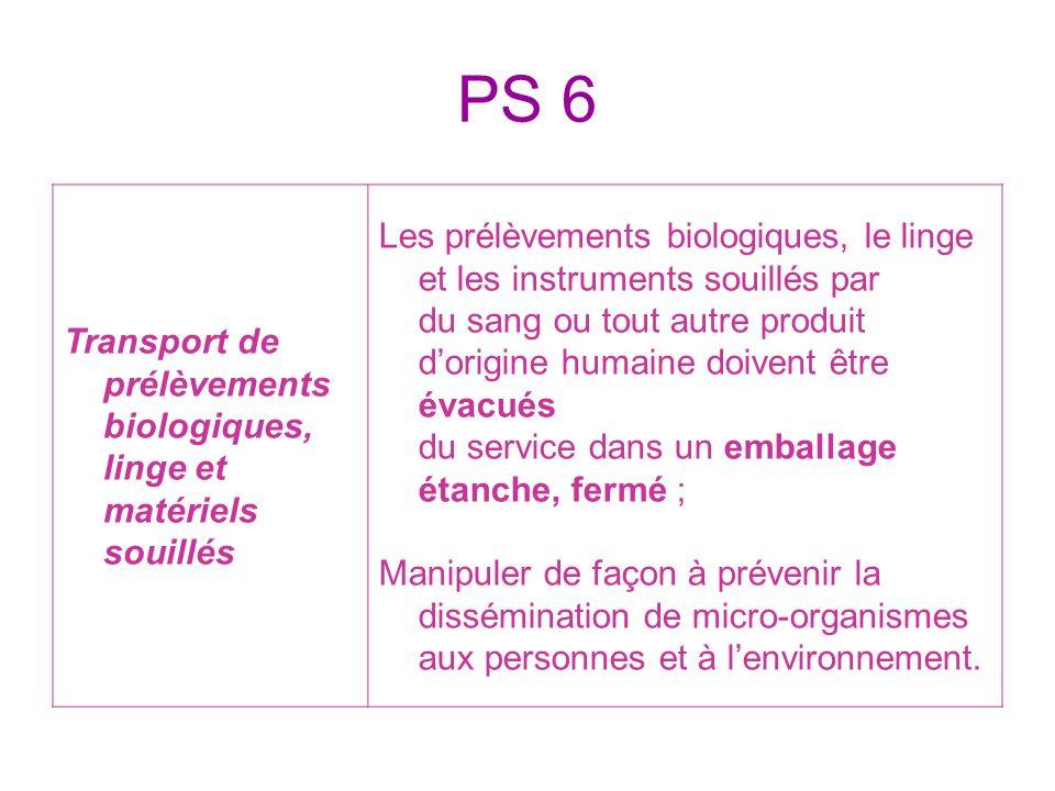 PS 6 Transport de prélèvements biologiques, linge et matériels souillés.