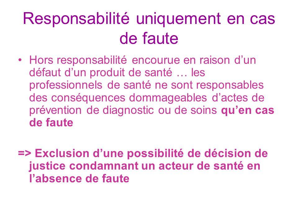 Responsabilité uniquement en cas de faute