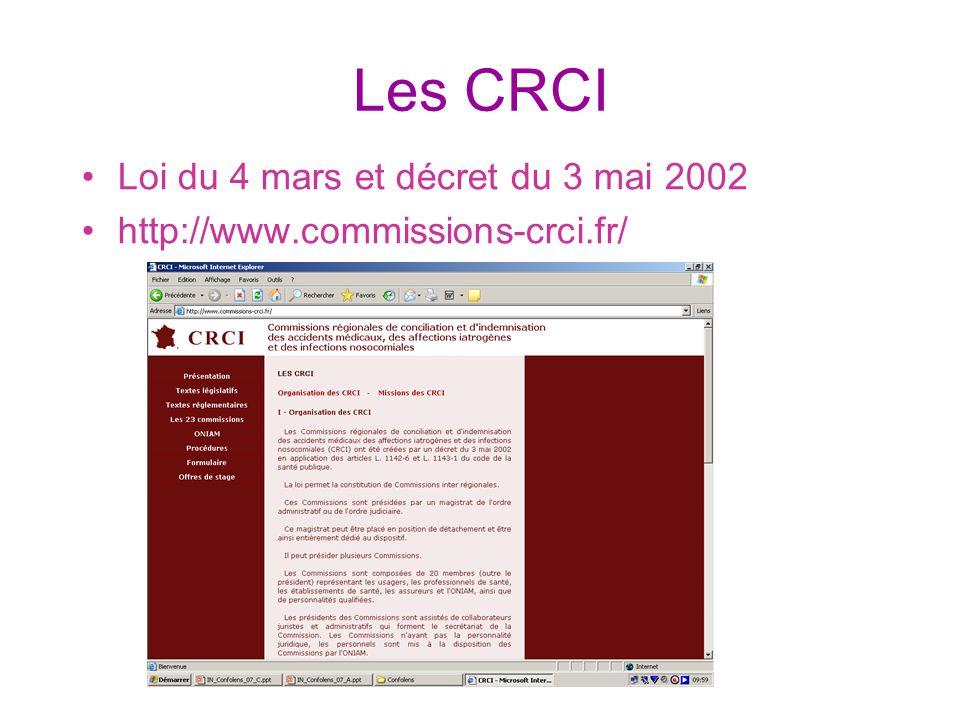 Les CRCI Loi du 4 mars et décret du 3 mai 2002