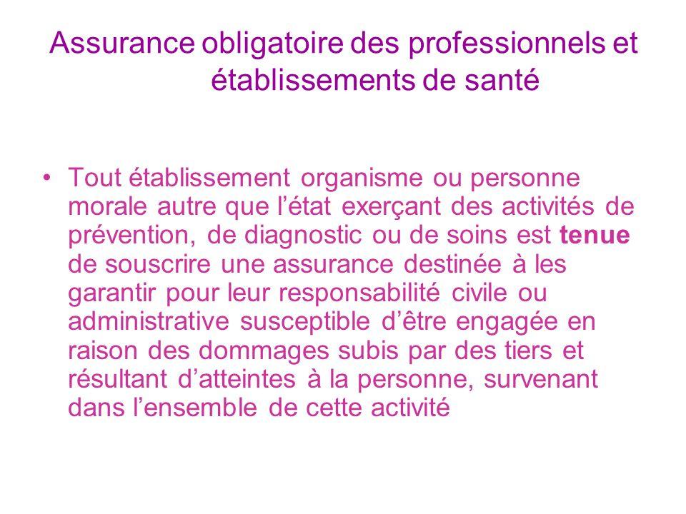 Assurance obligatoire des professionnels et établissements de santé