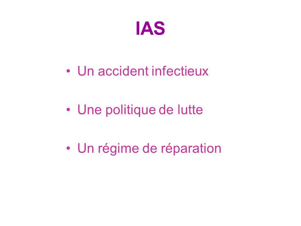 IAS Un accident infectieux Une politique de lutte