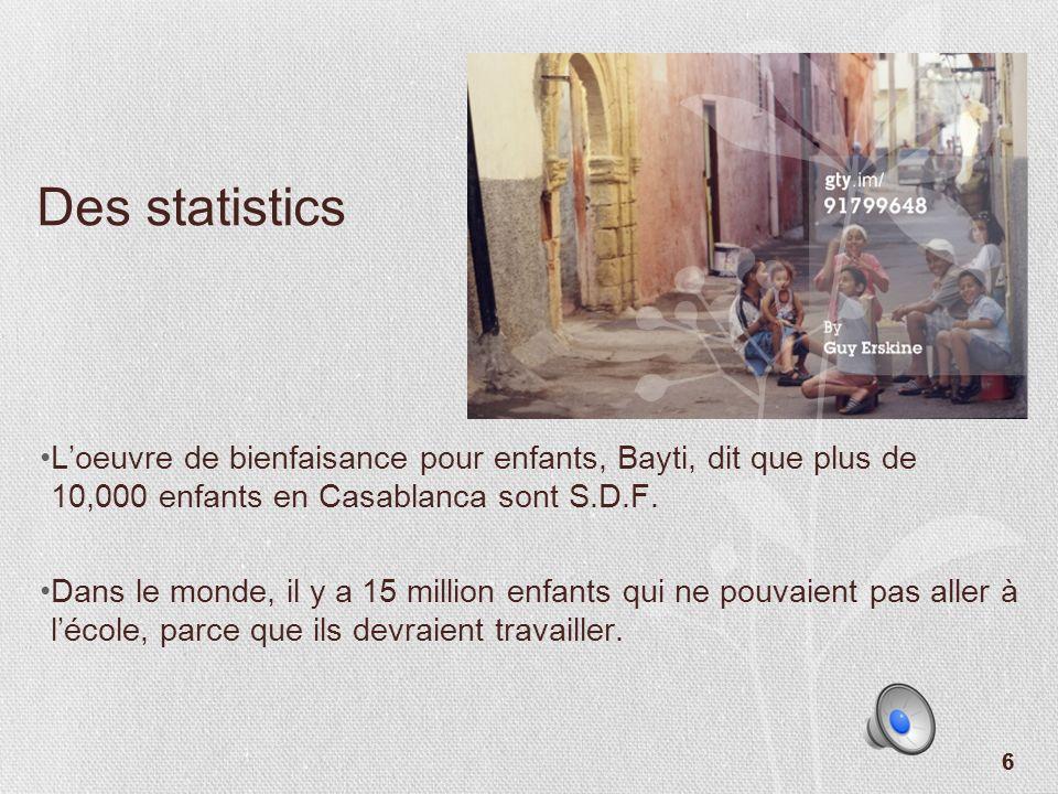 Des statistics L'oeuvre de bienfaisance pour enfants, Bayti, dit que plus de 10,000 enfants en Casablanca sont S.D.F.