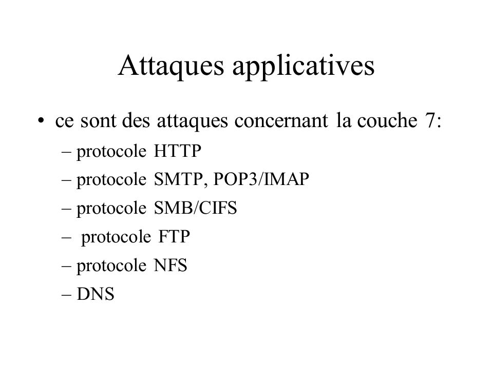 Attaques applicatives