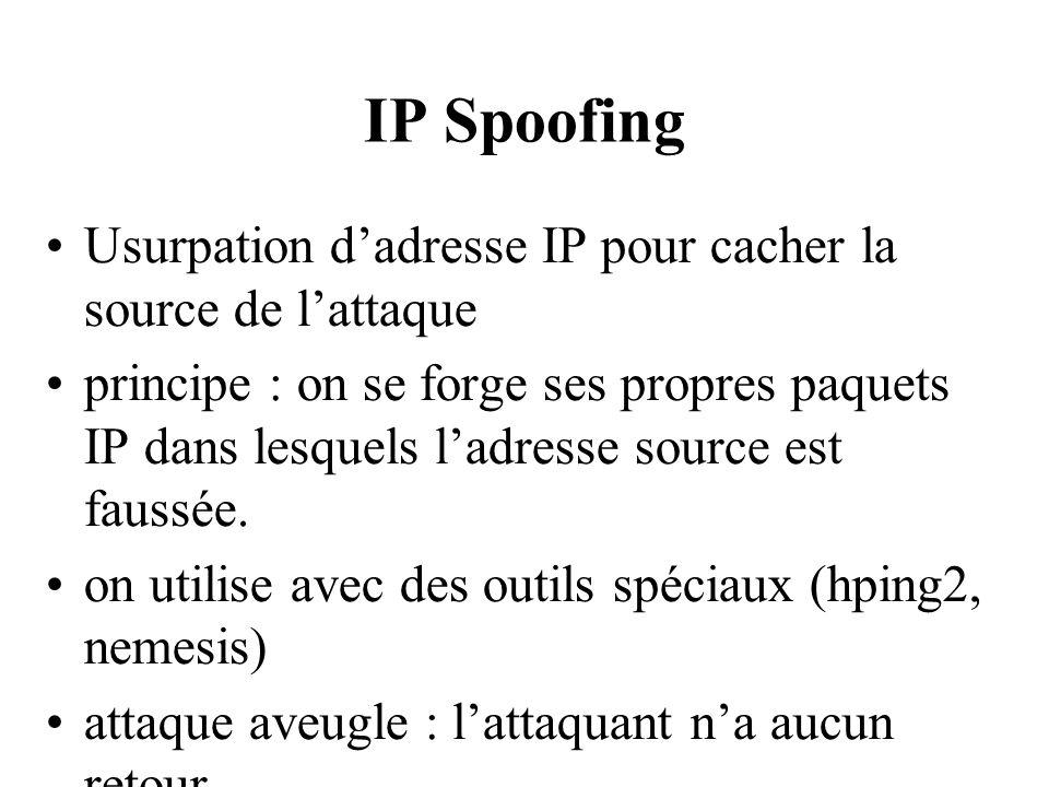 IP Spoofing Usurpation d'adresse IP pour cacher la source de l'attaque