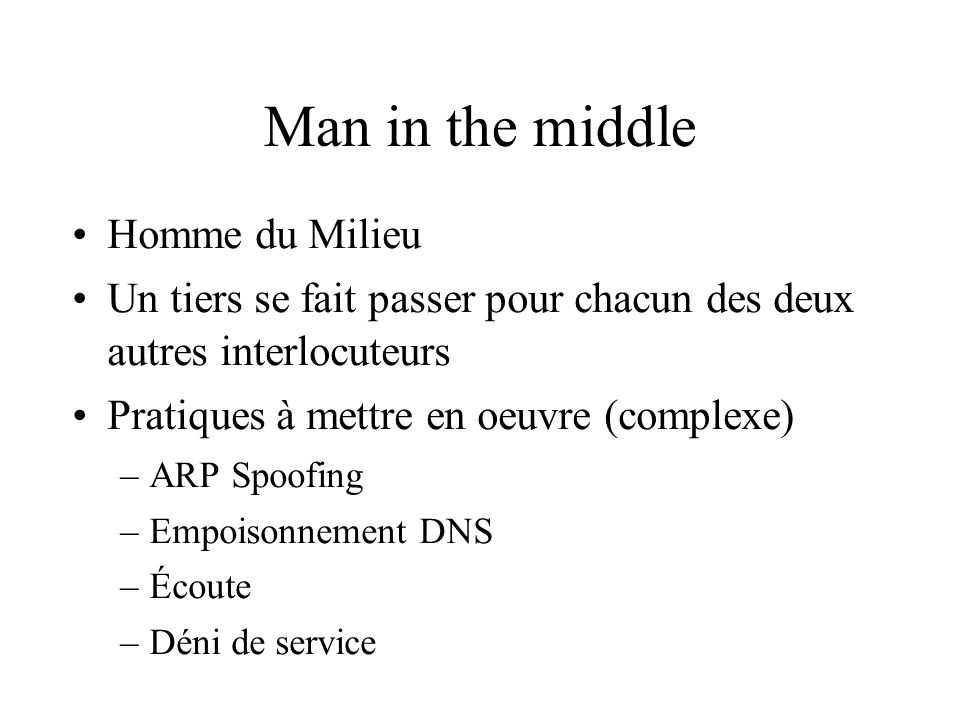 Man in the middle Homme du Milieu