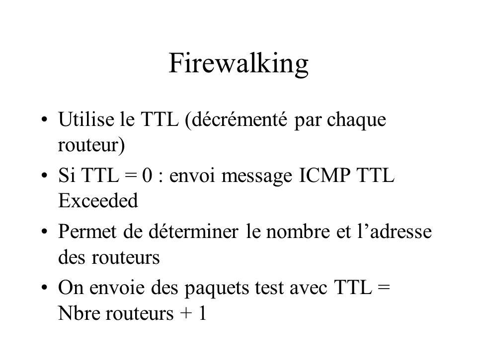 Firewalking Utilise le TTL (décrémenté par chaque routeur)