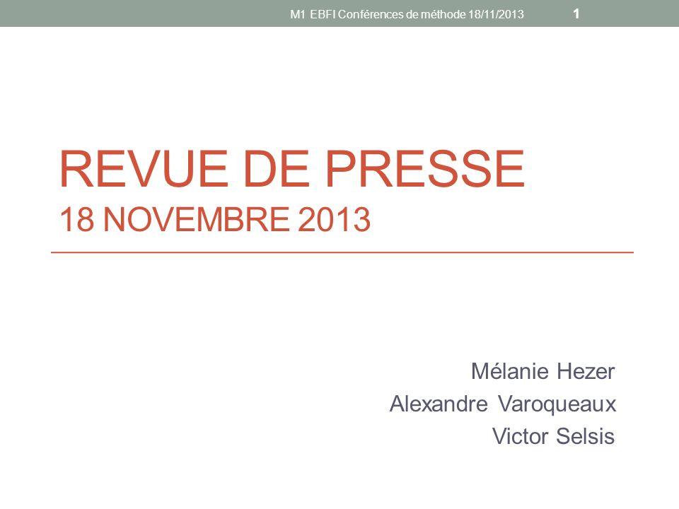 REVUE DE PRESSE 18 novembre 2013