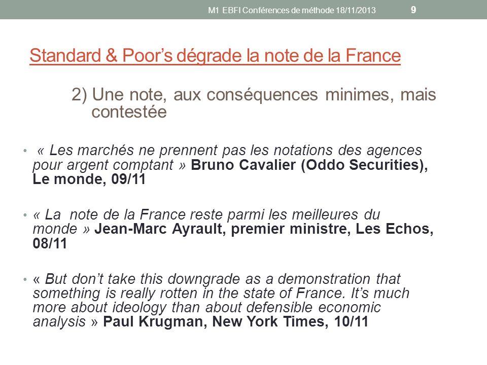 Standard & Poor's dégrade la note de la France