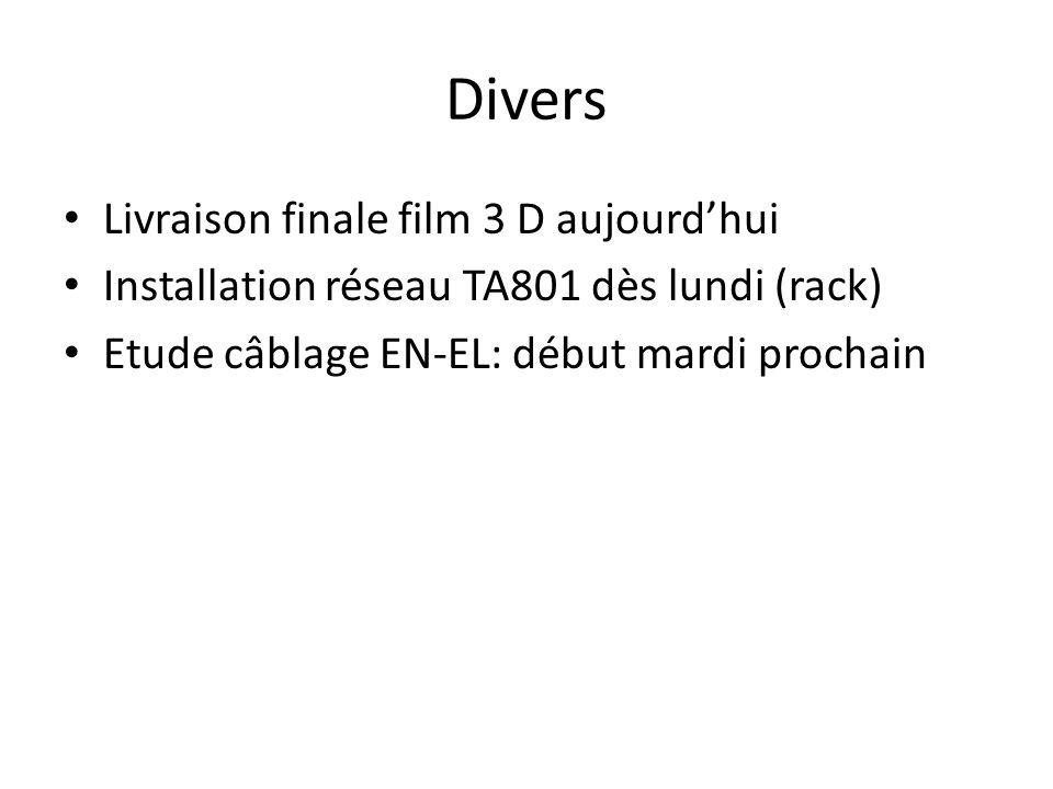 Divers Livraison finale film 3 D aujourd'hui