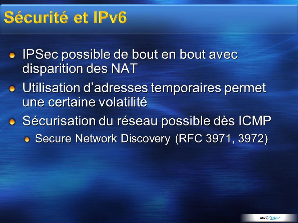 3/31/2017 3:24 AM Sécurité et IPv6. IPSec possible de bout en bout avec disparition des NAT.