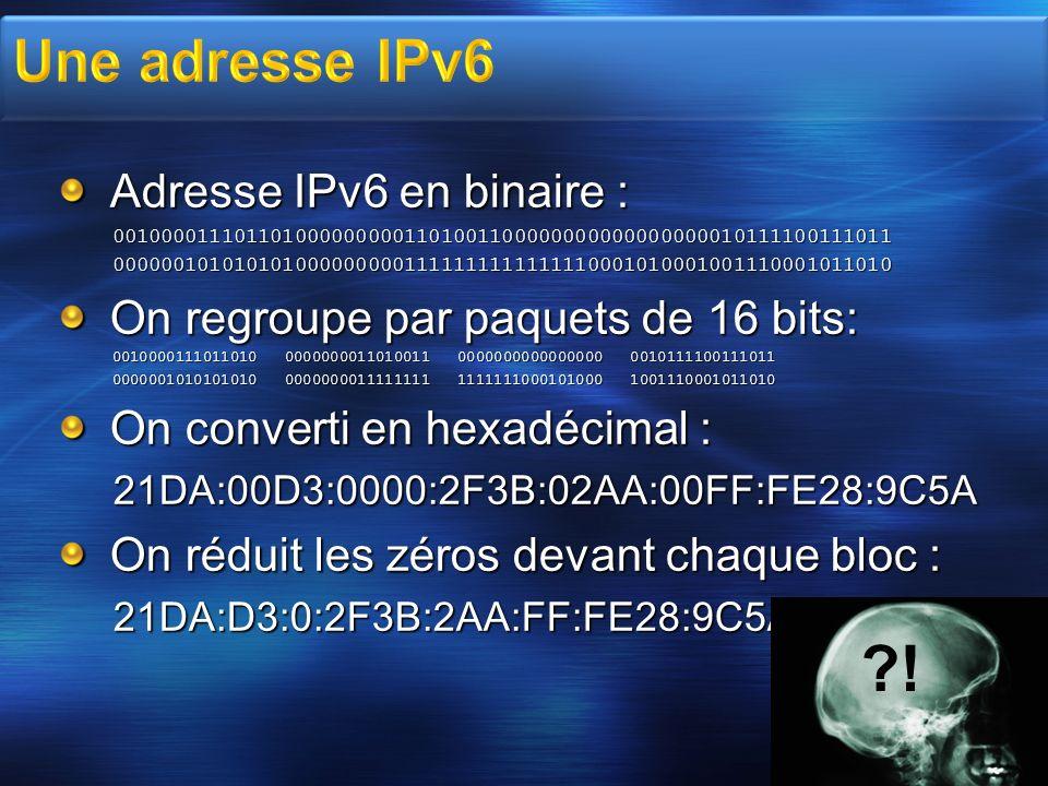 ! Une adresse IPv6 Adresse IPv6 en binaire :