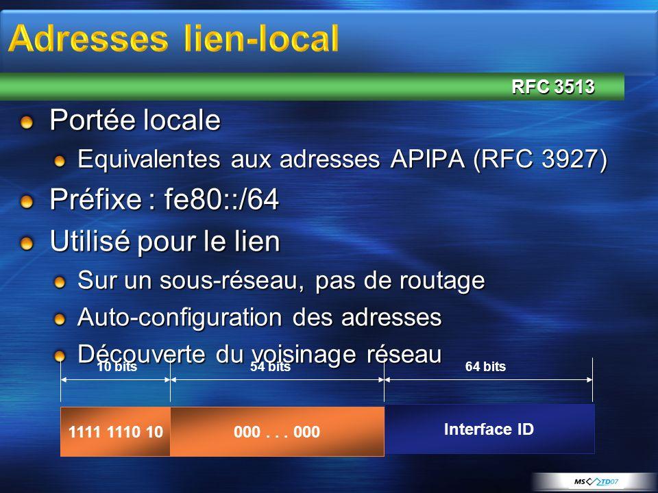 Adresses lien-local Portée locale Préfixe : fe80::/64